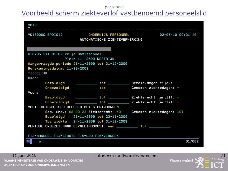 11 juni 2010 infosessie softwareleveranciers 71 personeel Voorbeeld scherm ziekteverlof vastbenoemd personeelslid