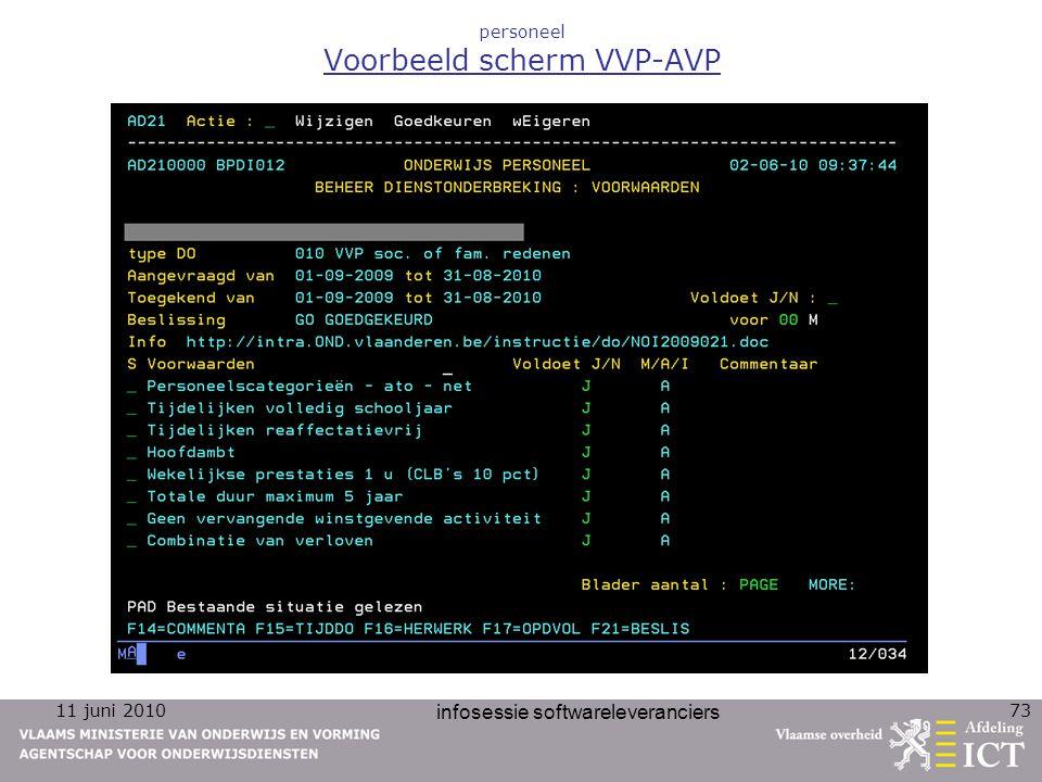 11 juni 2010 infosessie softwareleveranciers 73 personeel Voorbeeld scherm VVP-AVP