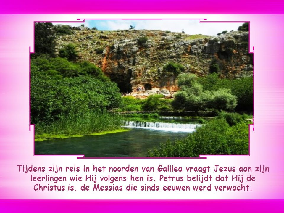 Tijdens zijn reis in het noorden van Galilea vraagt Jezus aan zijn leerlingen wie Hij volgens hen is.