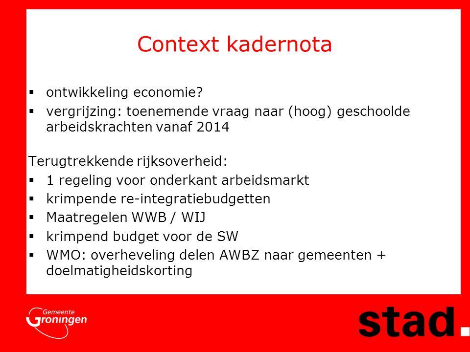 Arbeidsmarkt regio Groningen  Diensteneconomie / weinig industrie;  Weinig vraag naar laag geschoolde arbeidskrachten;  Vervangingsvraag minder dan landelijk (stille arbeidsmarktreserve);  Groei van het aantal NWW in 2011;  Sectoren met potentie: handel, advies & onderzoek, gezondheidszorg & welzijn.