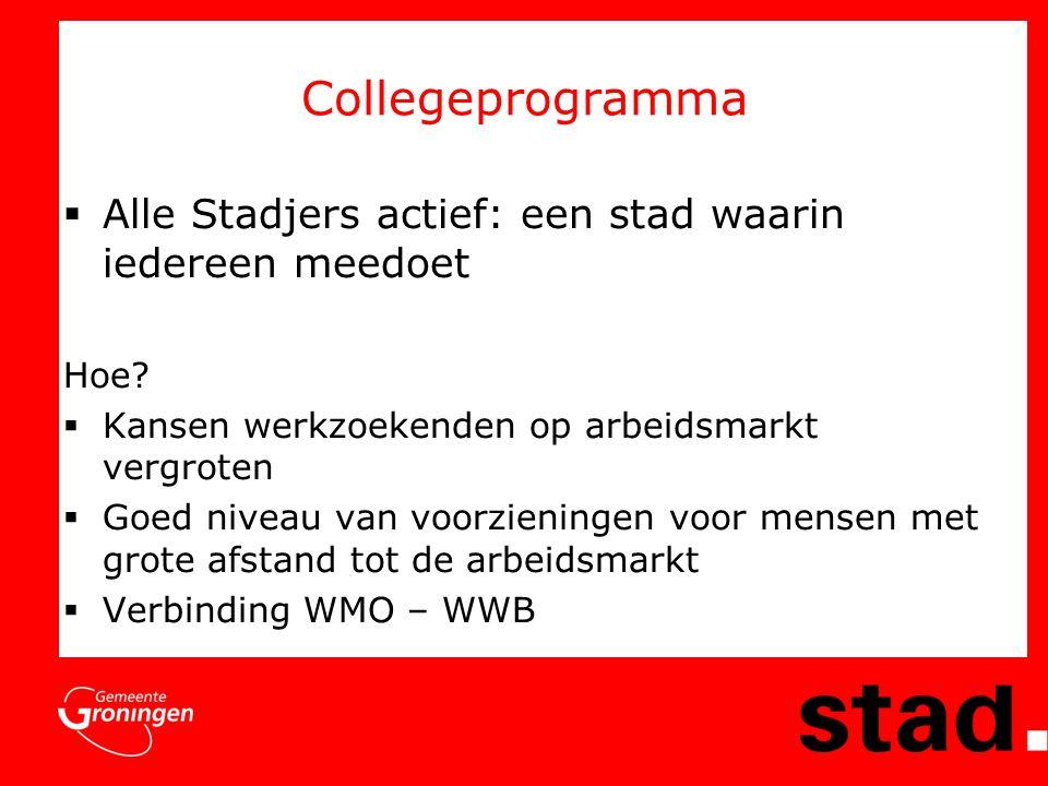 Collegeprogramma  Alle Stadjers actief: een stad waarin iedereen meedoet Hoe.