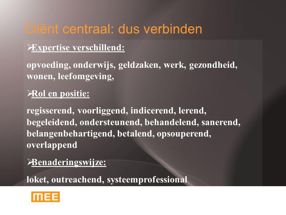 Cliënt centraal: dus verbinden  Expertise verschillend: opvoeding, onderwijs, geldzaken, werk, gezondheid, wonen, leefomgeving,  Rol en positie: regisserend, voorliggend, indicerend, lerend, begeleidend, ondersteunend, behandelend, sanerend, belangenbehartigend, betalend, opsouperend, overlappend  Benaderingswijze: loket, outreachend, systeemprofessional