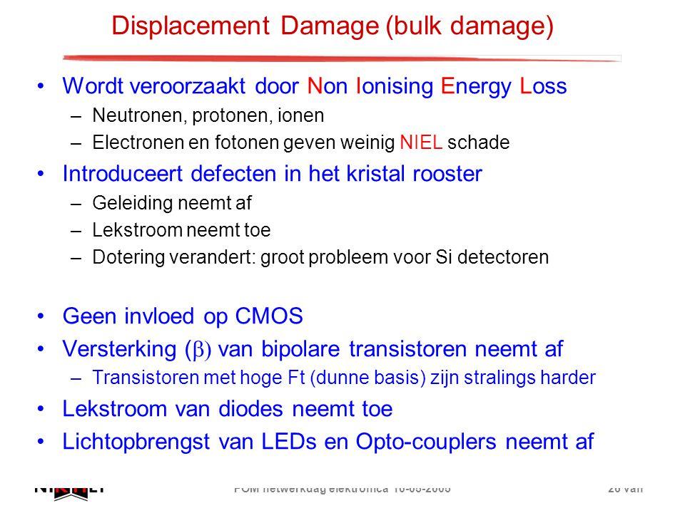 FOM netwerkdag elektronica 10-05-200526 van Displacement Damage(bulk damage) Wordt veroorzaakt door Non Ionising Energy Loss –Neutronen, protonen, ion
