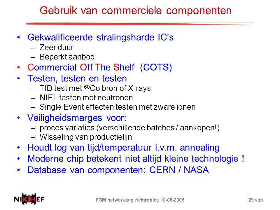 FOM netwerkdag elektronica 10-05-200529 van Gebruik van commerciele componenten Gekwalificeerde stralingsharde IC's –Zeer duur –Beperkt aanbod Commerc
