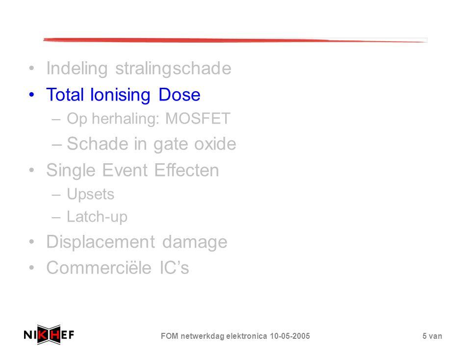 FOM netwerkdag elektronica 10-05-20055 van Indeling stralingschade Total Ionising Dose –Op herhaling: MOSFET –Schade in gate oxide Single Event Effect