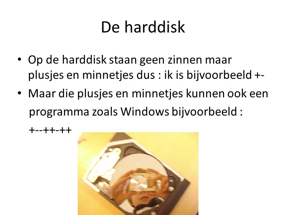 De harddisk Op de harddisk staan geen zinnen maar plusjes en minnetjes dus : ik is bijvoorbeeld +- Maar die plusjes en minnetjes kunnen ook een progra
