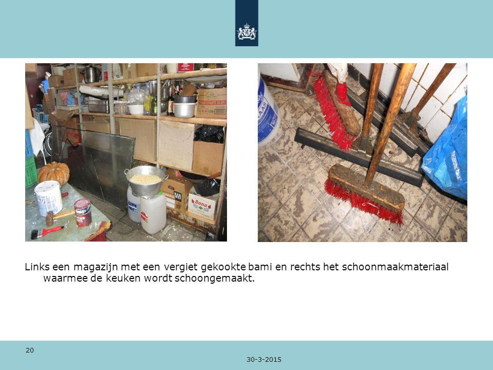 30-3-2015 20 Links een magazijn met een vergiet gekookte bami en rechts het schoonmaakmateriaal waarmee de keuken wordt schoongemaakt.