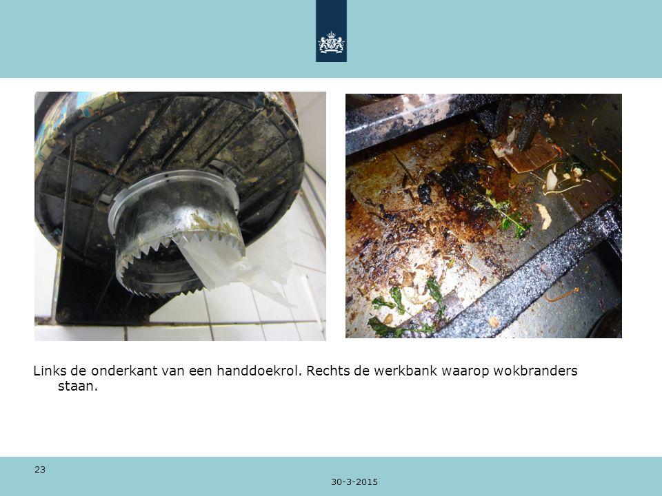 30-3-2015 23 Links de onderkant van een handdoekrol. Rechts de werkbank waarop wokbranders staan.