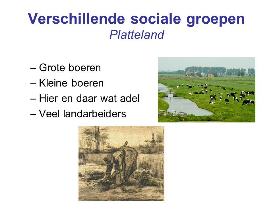 Verschillende sociale groepen Platteland –Grote boeren –Kleine boeren –Hier en daar wat adel –Veel landarbeiders