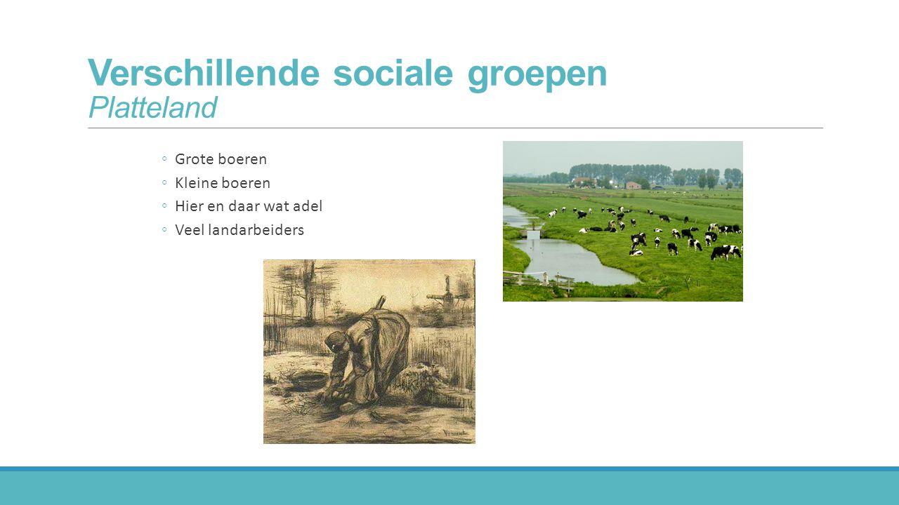 Verschillende sociale groepen Platteland ◦Grote boeren ◦Kleine boeren ◦Hier en daar wat adel ◦Veel landarbeiders