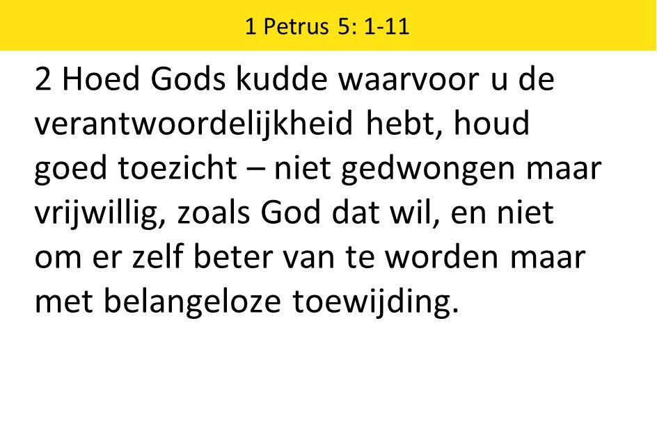 1 Petrus 5: 1-11 2 Hoed Gods kudde waarvoor u de verantwoordelijkheid hebt, houd goed toezicht – niet gedwongen maar vrijwillig, zoals God dat wil, en