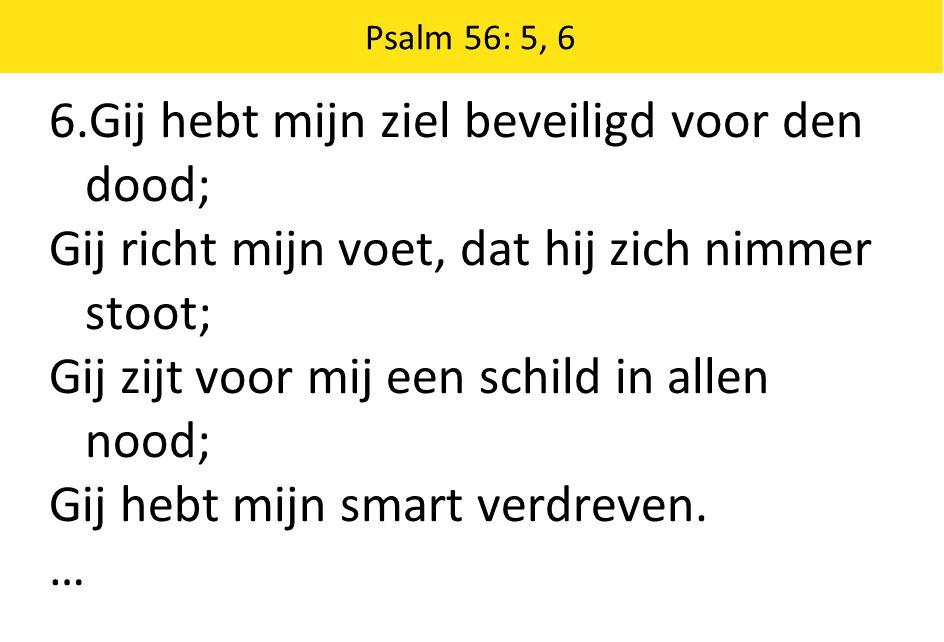 Psalm 56: 5, 6 6.Gij hebt mijn ziel beveiligd voor den dood; Gij richt mijn voet, dat hij zich nimmer stoot; Gij zijt voor mij een schild in allen noo
