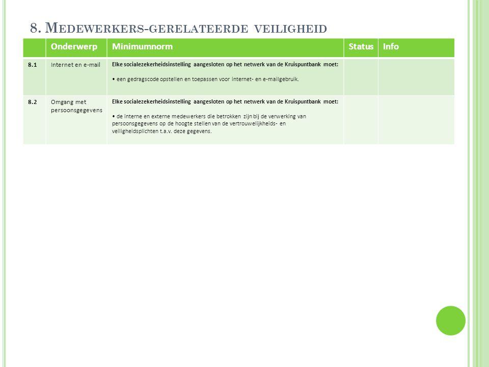 8. M EDEWERKERS - GERELATEERDE VEILIGHEID OnderwerpMinimumnormStatusInfo 8.1Internet en e-mail Elke socialezekerheidsinstelling aangesloten op het net
