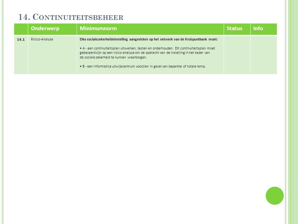 14. C ONTINUITEITSBEHEER OnderwerpMinimumnormStatusInfo 14.1 Risico-AnalyseElke socialezekerheidsinstelling aangesloten op het netwerk van de Kruispun