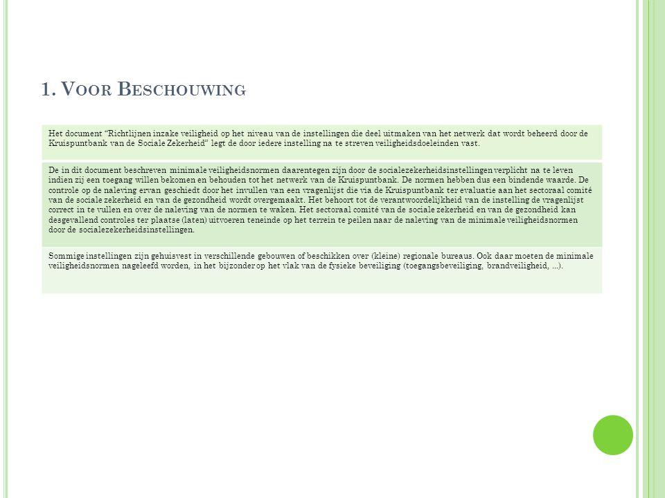 """1. V OOR B ESCHOUWING Het document """"Richtlijnen inzake veiligheid op het niveau van de instellingen die deel uitmaken van het netwerk dat wordt beheer"""