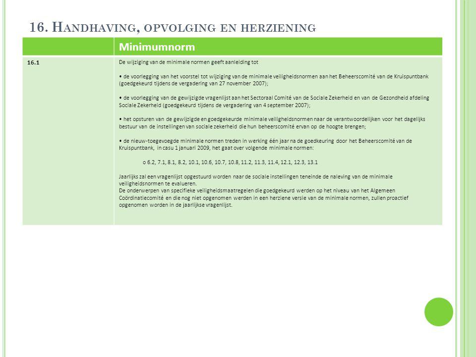 16. H ANDHAVING, OPVOLGING EN HERZIENING Minimumnorm 16.1 De wijziging van de minimale normen geeft aanleiding tot de voorlegging van het voorstel tot