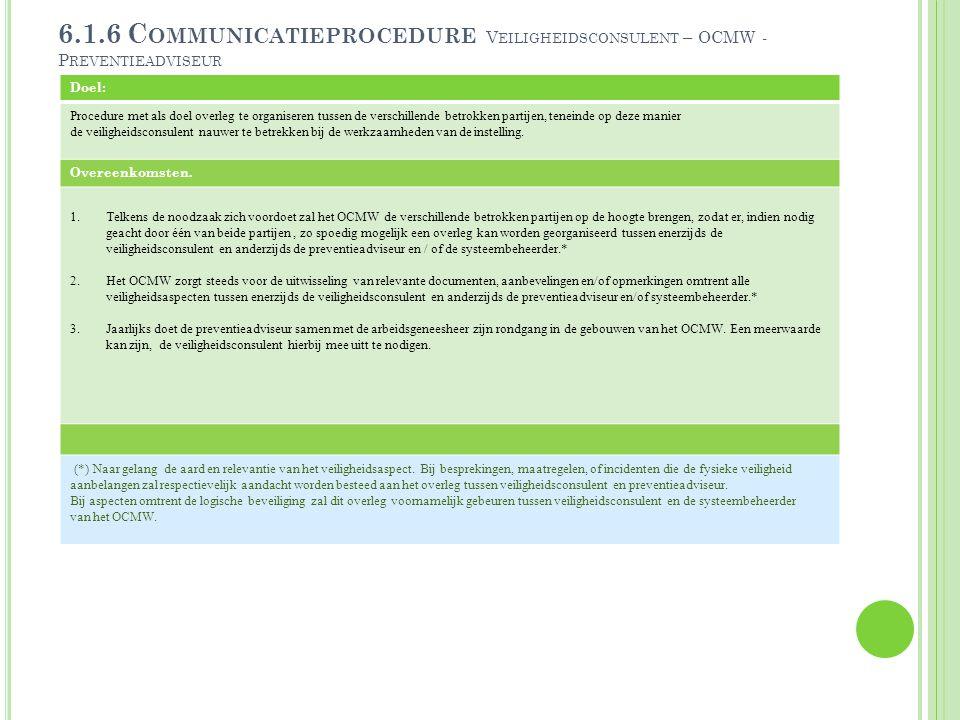 6.1.6 C OMMUNICATIEPROCEDURE V EILIGHEIDSCONSULENT – OCMW - P REVENTIEADVISEUR Doel: Procedure met als doel overleg te organiseren tussen de verschill