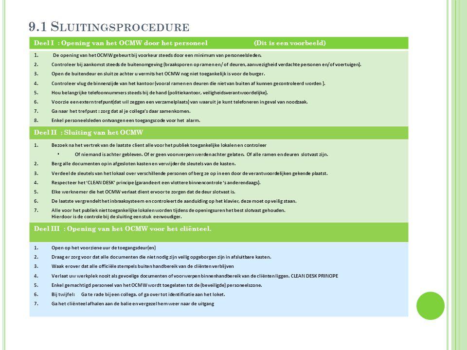 9.1 S LUITINGSPROCEDURE Deel I : Opening van het OCMW door het personeel (Dit is een voorbeeld) 1. De opening van het OCMW gebeurt bij voorkeur steeds