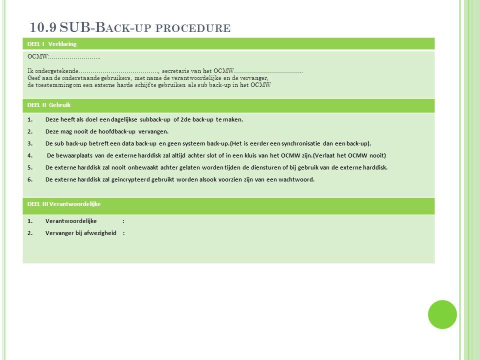 10.9 SUB-B ACK - UP PROCEDURE DEEL I Verklaring OCMW:…………………….. Ik ondergetekende…………………………………., secretaris van het OCMW…………………………….. Geef aan de onde
