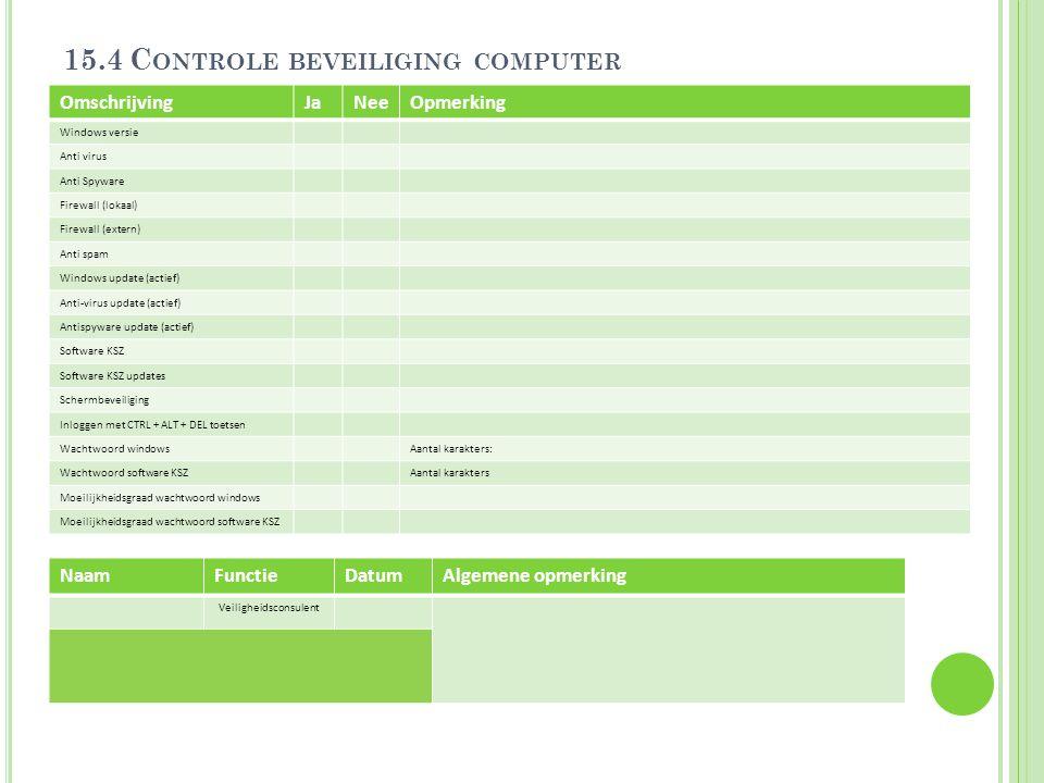 15.4 C ONTROLE BEVEILIGING COMPUTER OmschrijvingJaNeeOpmerking Windows versie Anti virus Anti Spyware Firewall (lokaal) Firewall (extern) Anti spam Wi