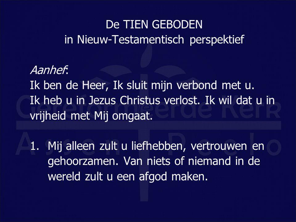 De TIEN GEBODEN in Nieuw-Testamentisch perspektief Aanhef: Ik ben de Heer, Ik sluit mijn verbond met u. Ik heb u in Jezus Christus verlost. Ik wil dat