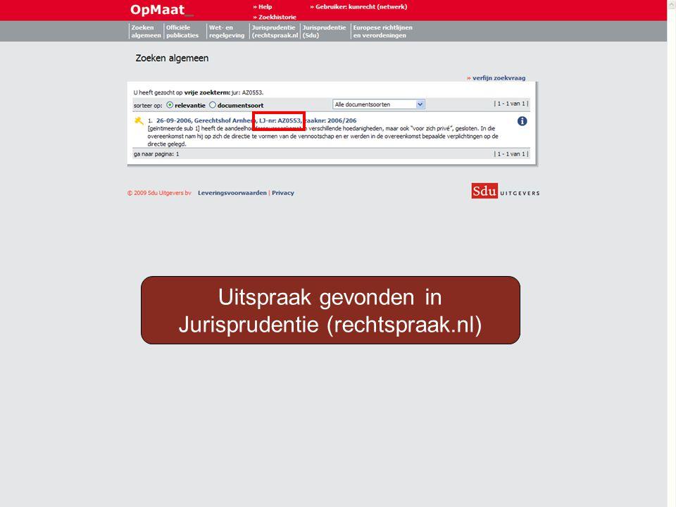 Mogelijkheid 2: Kies Jurisprudentie (rechtspraak.nl)