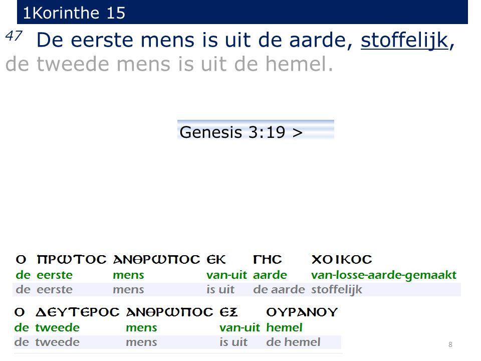 8 47 De eerste mens is uit de aarde, stoffelijk, de tweede mens is uit de hemel. 1Korinthe 15 Genesis 3:19 >