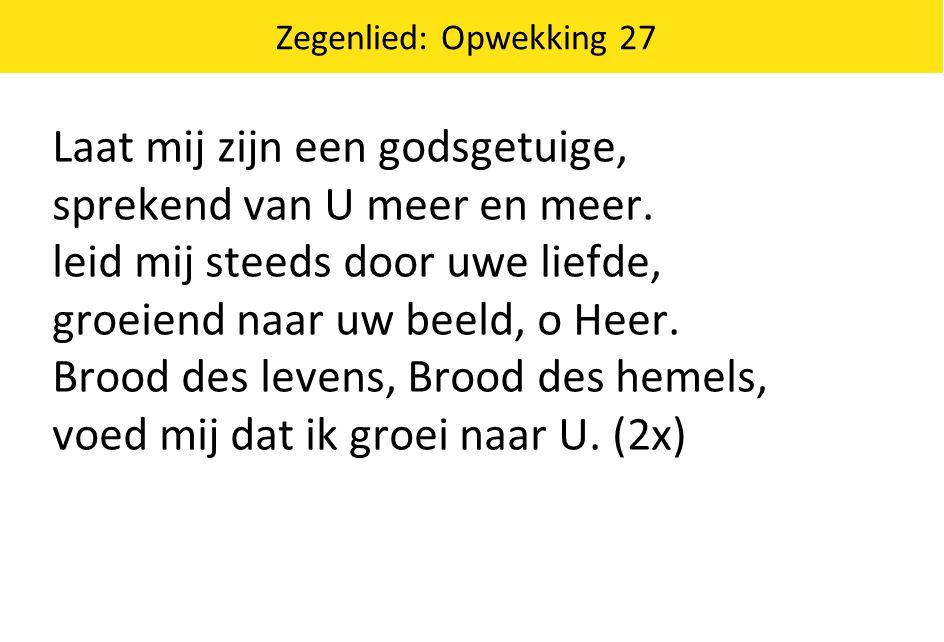 Zegenlied: Opwekking 27 Laat mij zijn een godsgetuige, sprekend van U meer en meer.
