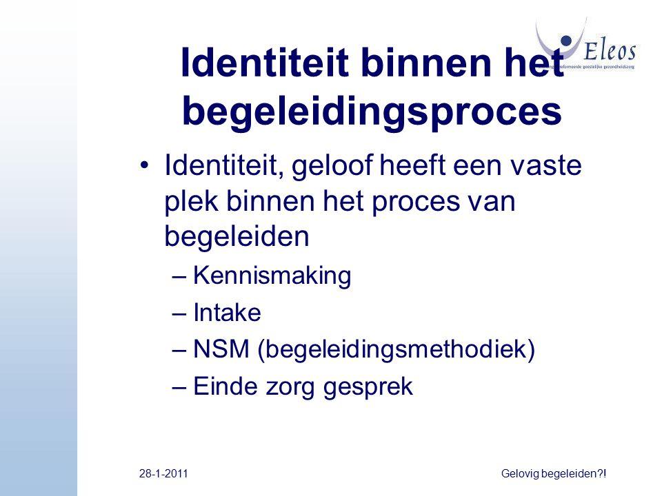 Identiteit binnen het begeleidingsproces Identiteit, geloof heeft een vaste plek binnen het proces van begeleiden –Kennismaking –Intake –NSM (begeleid
