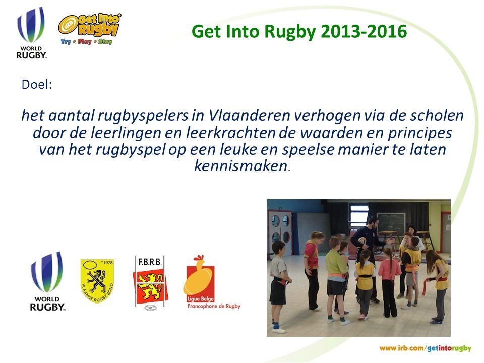 Get Into Rugby 2013-2016 Doel: het aantal rugbyspelers in Vlaanderen verhogen via de scholen door de leerlingen en leerkrachten de waarden en principes van het rugbyspel op een leuke en speelse manier te laten kennismaken.
