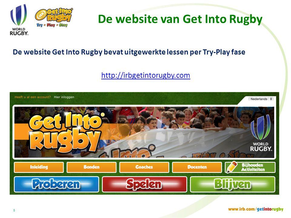 De website van Get Into Rugby De website Get Into Rugby bevat uitgewerkte lessen per Try-Play fase http://irbgetintorugby.com 8