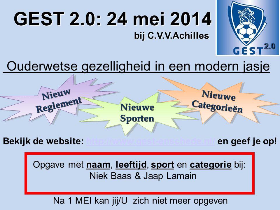 2.0 Bekijk de website: http://www.gest-enschede.nl/ en geef je op!http://www.gest-enschede.nl/ Opgave met naam, leeftijd, sport en categorie bij: Niek