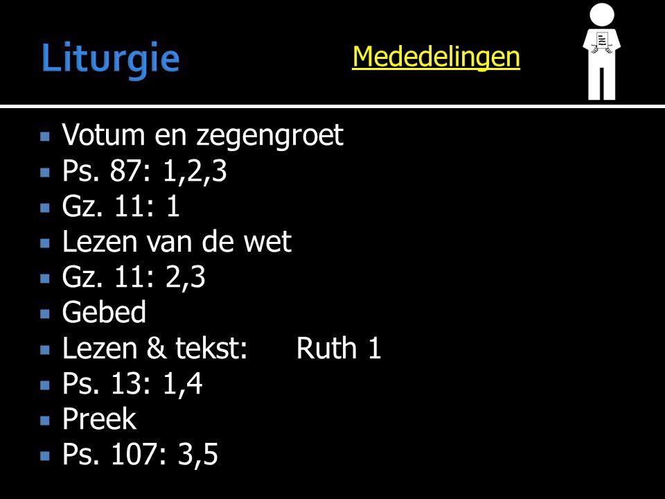 Mededelingen  Votum en zegengroet  Ps. 87: 1,2,3  Gz. 11: 1  Lezen van de wet  Gz. 11: 2,3  Gebed  Lezen & tekst:Ruth 1  Ps. 13: 1,4  Preek 
