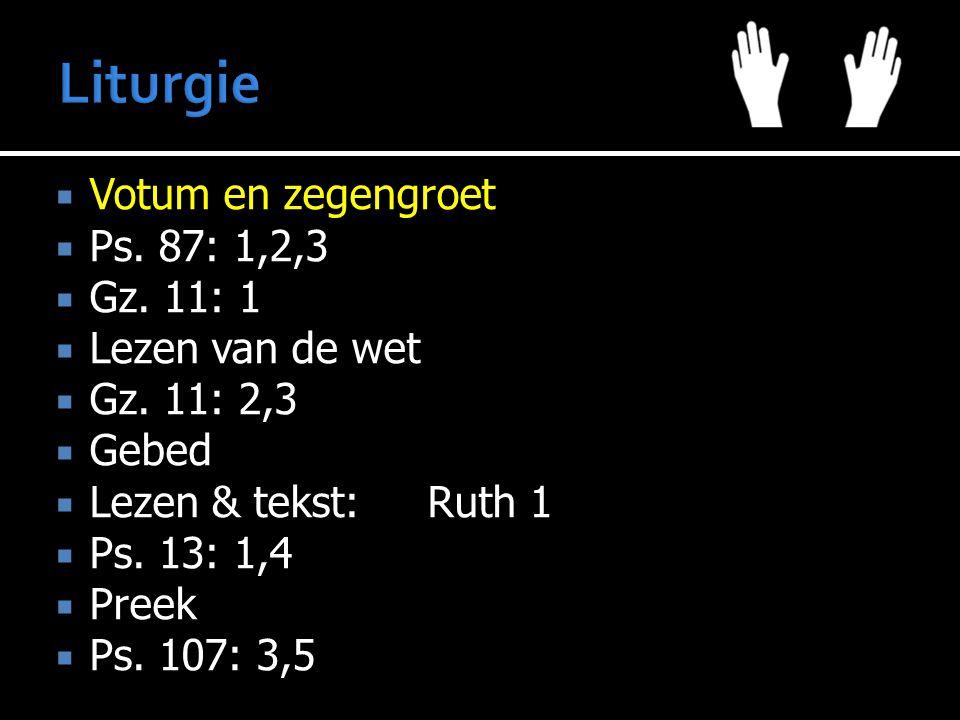  Votum en zegengroet  Ps. 87: 1,2,3  Gz. 11: 1  Lezen van de wet  Gz. 11: 2,3  Gebed  Lezen & tekst:Ruth 1  Ps. 13: 1,4  Preek  Ps. 107: 3,5