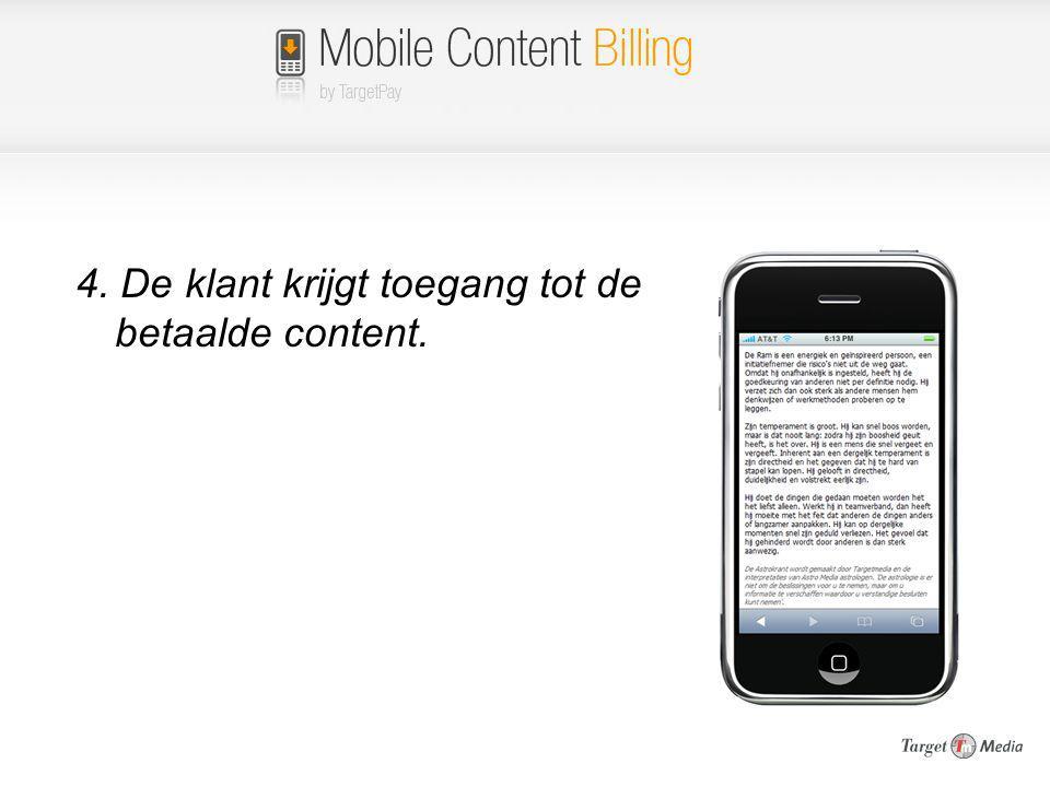 4. De klant krijgt toegang tot de betaalde content.
