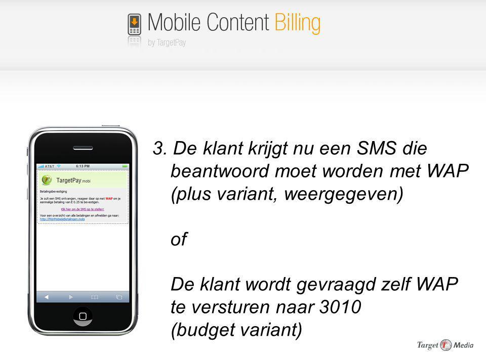 3. De klant krijgt nu een SMS die beantwoord moet worden met WAP (plus variant, weergegeven) of De klant wordt gevraagd zelf WAP te versturen naar 301