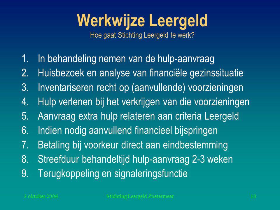 3 oktober 2006Stichting Leergeld Zoetermeer10 Werkwijze Leergeld Hoe gaat Stichting Leergeld te werk.