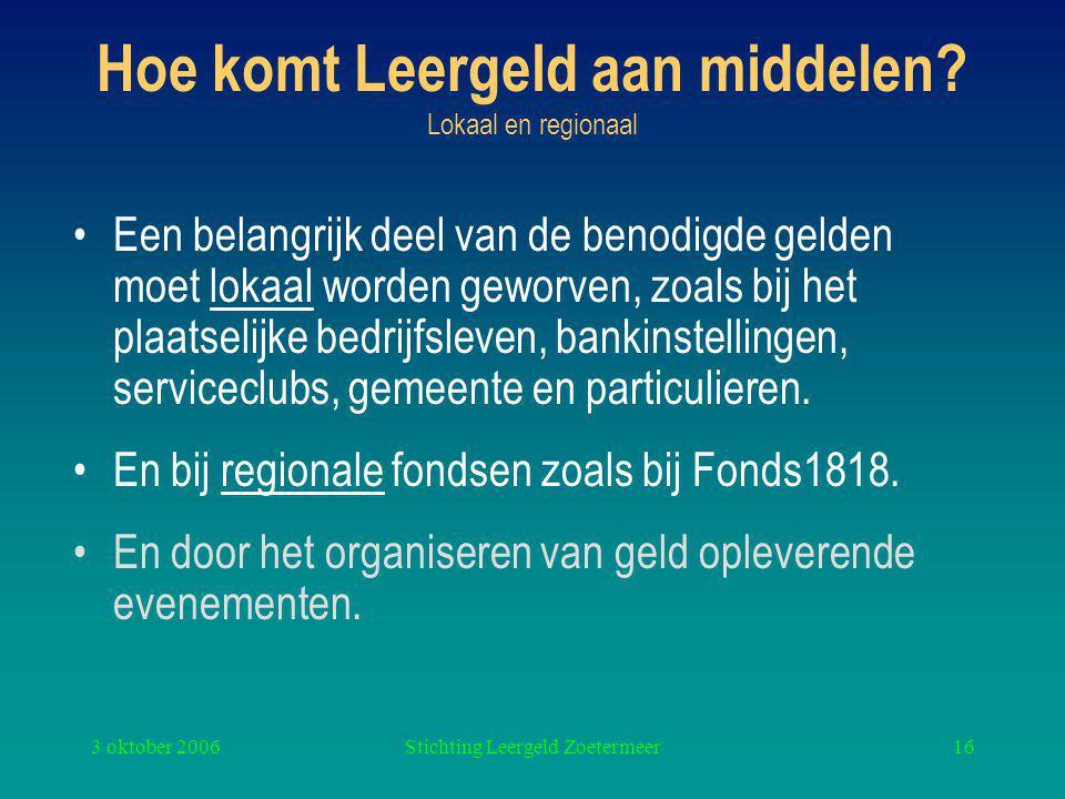 3 oktober 2006Stichting Leergeld Zoetermeer16 Hoe komt Leergeld aan middelen.