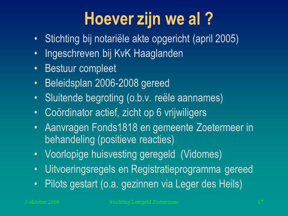 3 oktober 2006Stichting Leergeld Zoetermeer17 Hoever zijn we al .