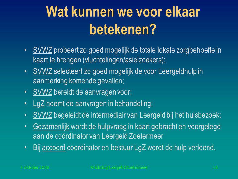 3 oktober 2006Stichting Leergeld Zoetermeer18 Wat kunnen we voor elkaar betekenen.