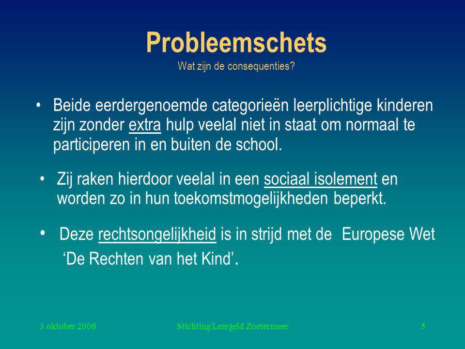 3 oktober 2006Stichting Leergeld Zoetermeer5 Probleemschets Wat zijn de consequenties.