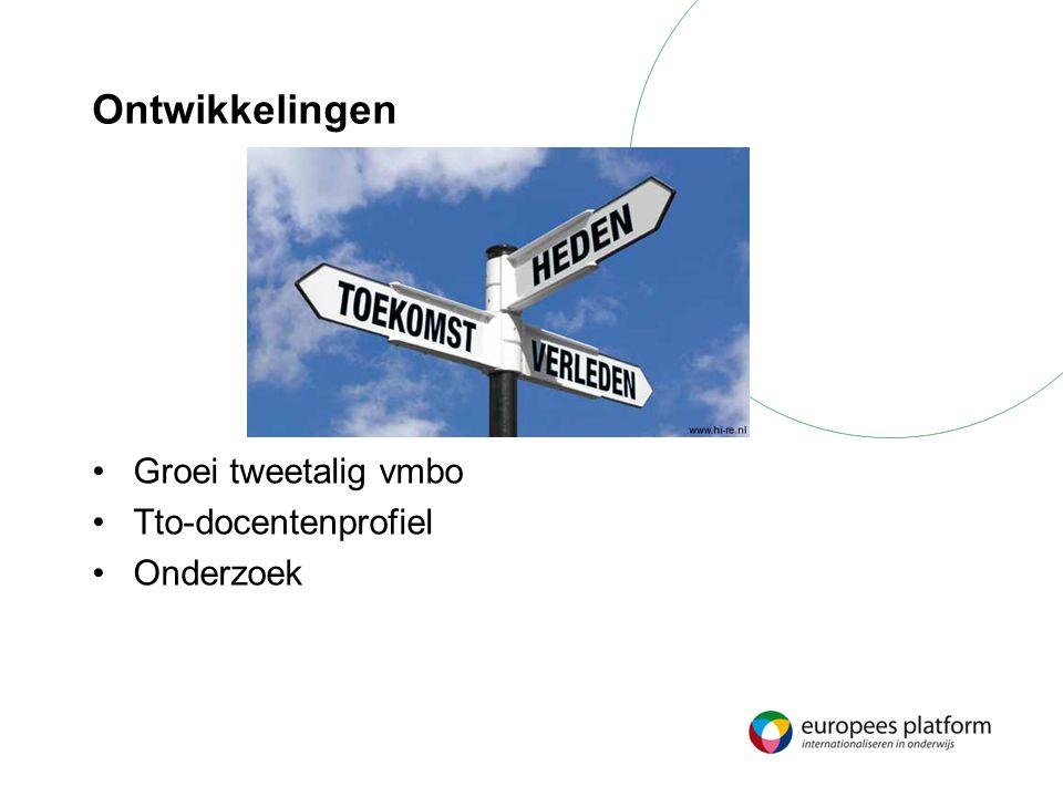 Ontwikkelingen Groei tweetalig vmbo Tto-docentenprofiel Onderzoek