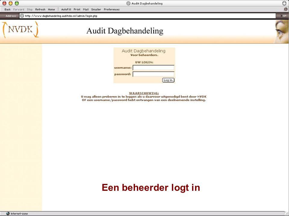 De beheerder kan kiezen uit 'home' 'log uit' 'nieuwe gebruikers'...