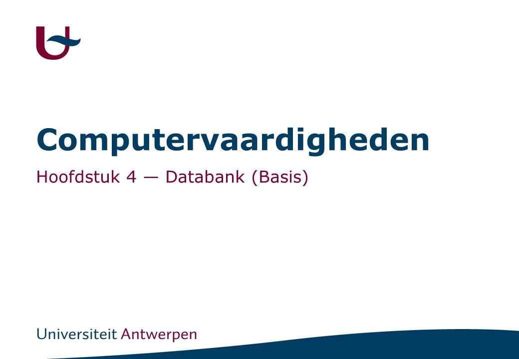 2 Inhoud Databank -Terminologie, Navigeren, Importeren Tabellen -Records/Velden manipuleren Queries (Vragen) [Ook in SQL] -sorteren -filter volgens criteria -rekenkundige bewerkingen -GROUP BY -CROSS-TAB exporteren Oefeningen