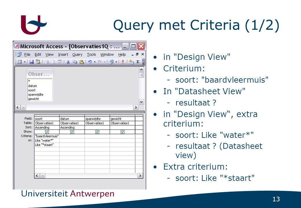 13 Query met Criteria (1/2) in