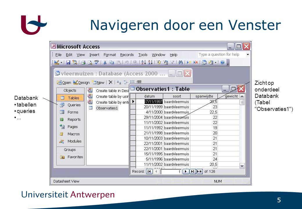 5 Navigeren door een Venster Databank tabellen queries... Zicht op onderdeel Databank (Tabel