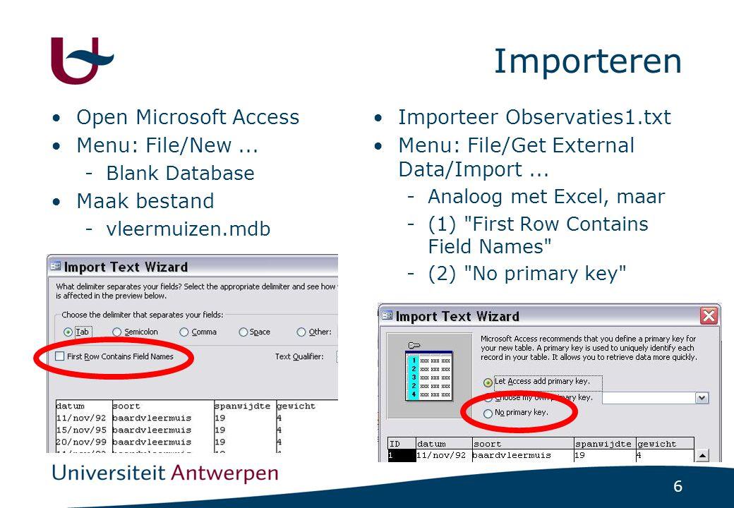 17 Query met Rekenkundige Bewerkingen (1/2) In Design View extra kolom:resultaat: [gewicht]*[spanwijdte] -resultaat = naam van het veld -[gewicht]*[spanwijdte] = berekening voor inhoud Wat levert dit op ?
