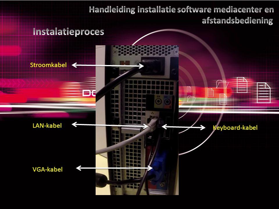 Stroomkabel LAN-kabel VGA-kabel Keyboard-kabel