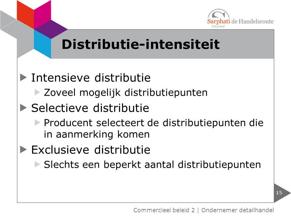 Intensieve distributie Zoveel mogelijk distributiepunten Selectieve distributie Producent selecteert de distributiepunten die in aanmerking komen Excl