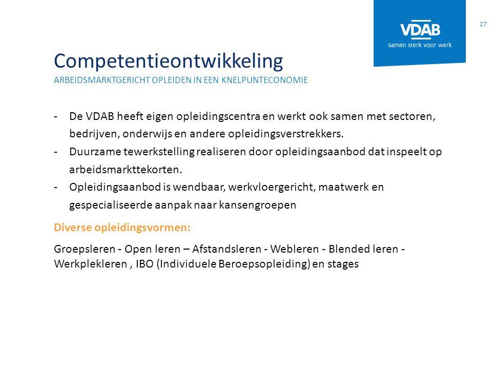 Competentieontwikkeling ARBEIDSMARKTGERICHT OPLEIDEN IN EEN KNELPUNTECONOMIE -De VDAB heeft eigen opleidingscentra en werkt ook samen met sectoren, be